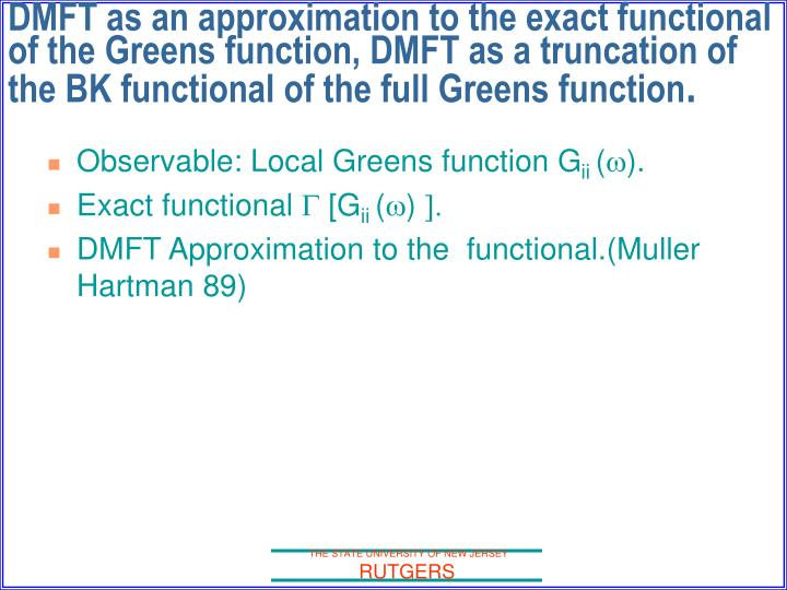 Observable: Local Greens function G