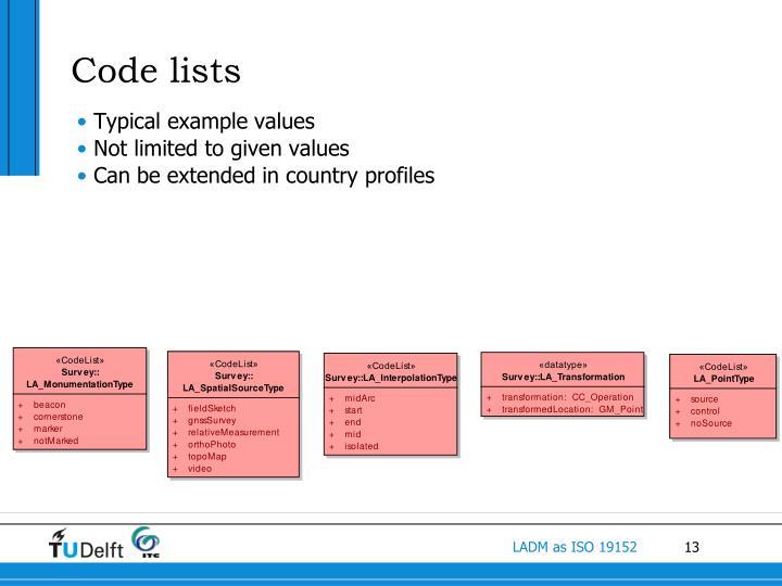 Code lists