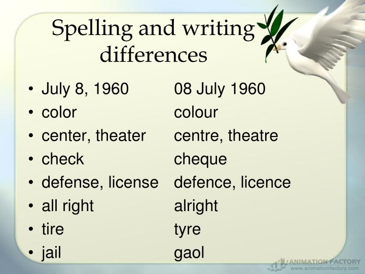 Spelling and writing differences