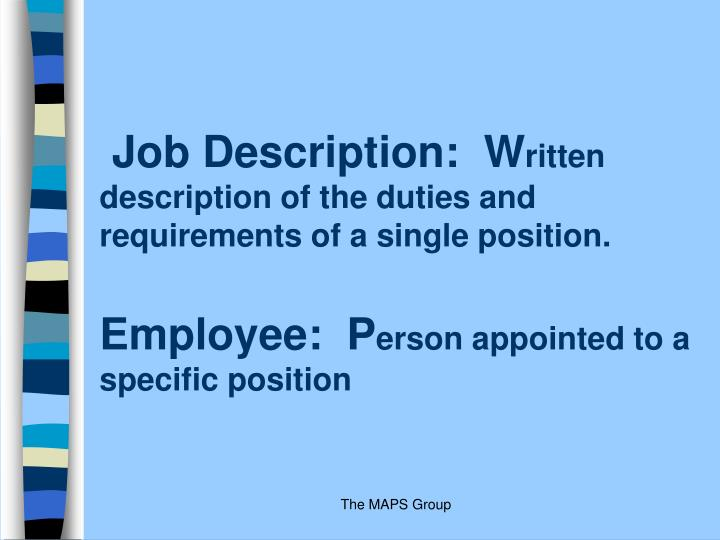 Job Description:  W