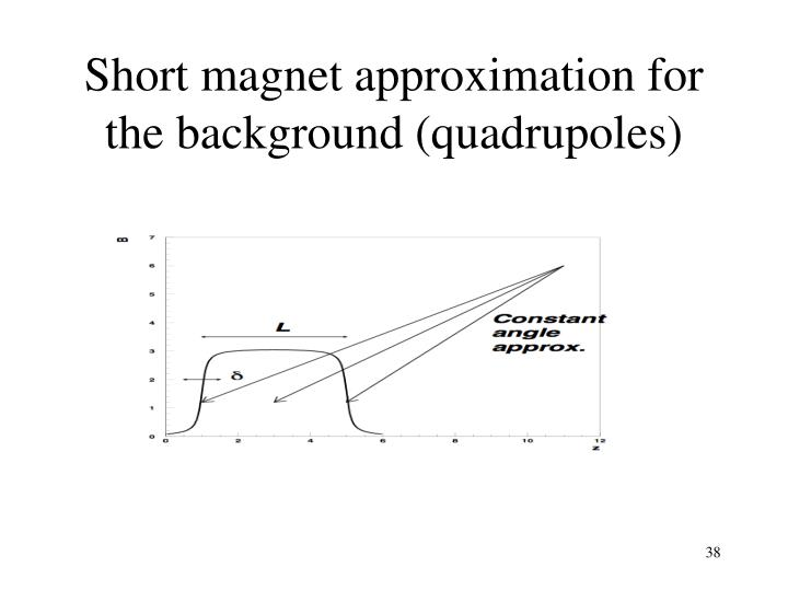 Short magnet approximation for the background (quadrupoles)