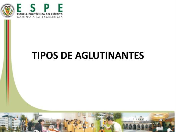 TIPOS DE AGLUTINANTES