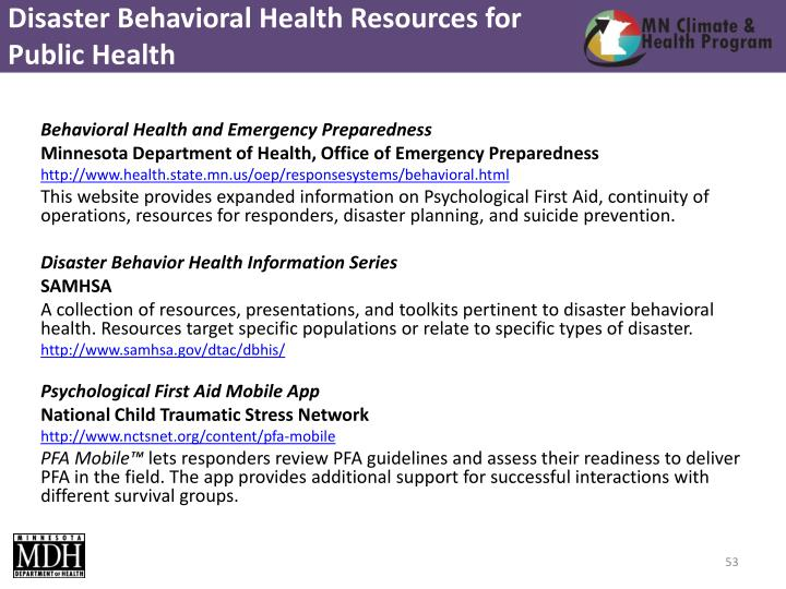 Disaster Behavioral Health Resources for Public Health