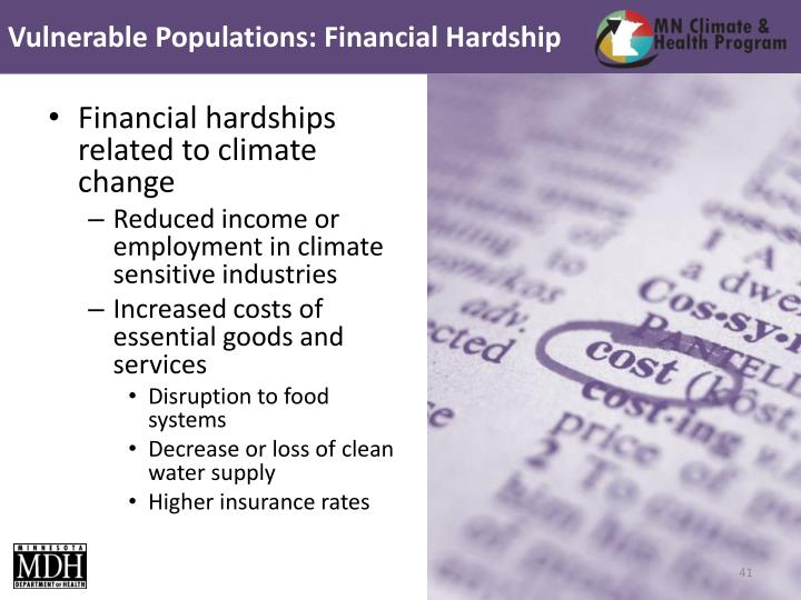 Vulnerable Populations: Financial Hardship