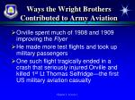 ways the wright brothers contributed to army aviation