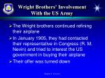 wright brothers involvement with the us army