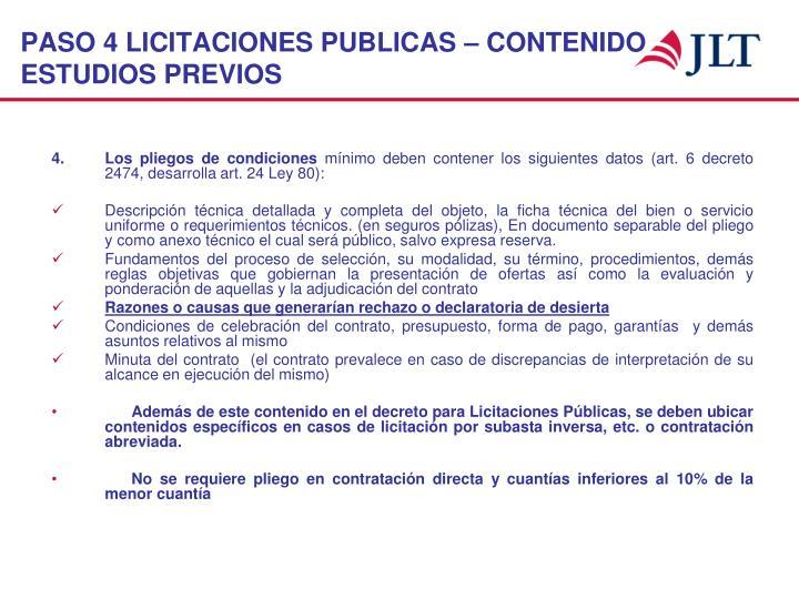 PASO 4 LICITACIONES PUBLICAS – CONTENIDO ESTUDIOS PREVIOS