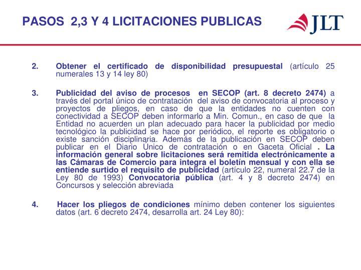 PASOS  2,3 Y 4 LICITACIONES PUBLICAS