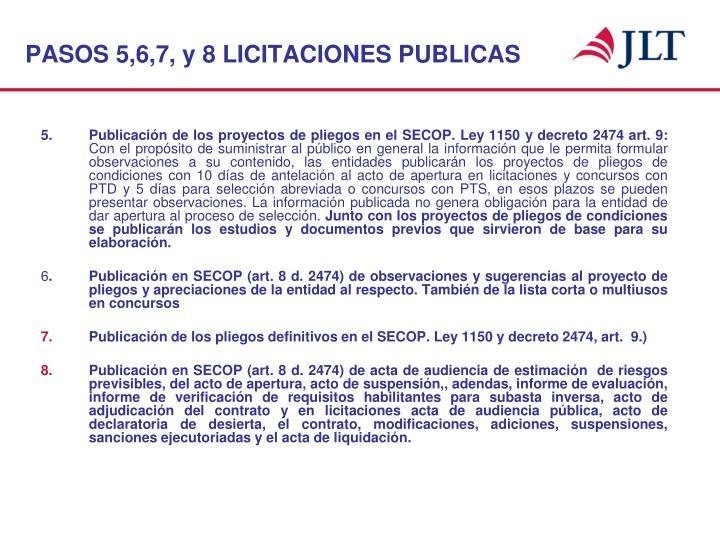 PASOS 5,6,7, y 8 LICITACIONES PUBLICAS