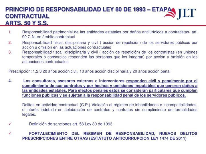 PRINCIPIO DE RESPONSABILIDAD LEY 80 DE 1993 – ETAPA CONTRACTUAL