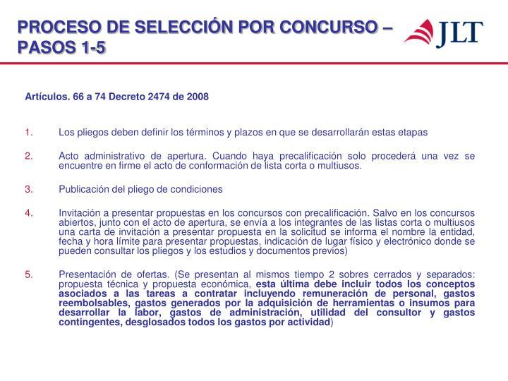 PROCESO DE SELECCIÓN POR CONCURSO – PASOS 1-5