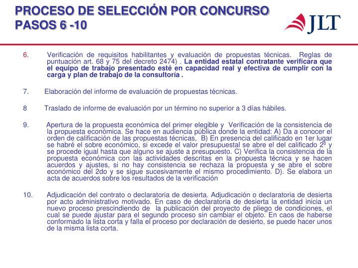PROCESO DE SELECCIÓN POR CONCURSO