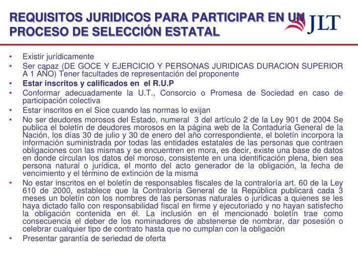 REQUISITOS JURIDICOS PARA PARTICIPAR EN UN PROCESO DE SELECCIÓN ESTATAL