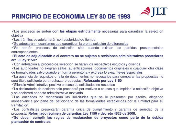PRINCIPIO DE ECONOMIA LEY 80 DE 1993