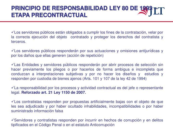 PRINCIPIO DE RESPONSABILIDAD LEY 80 DE 1993 – ETAPA PRECONTRACTUAL