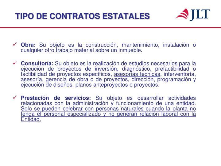 Tipo de contratos estatales