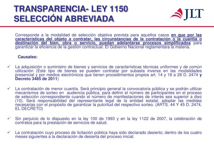 TRANSPARENCIA- LEY 1150