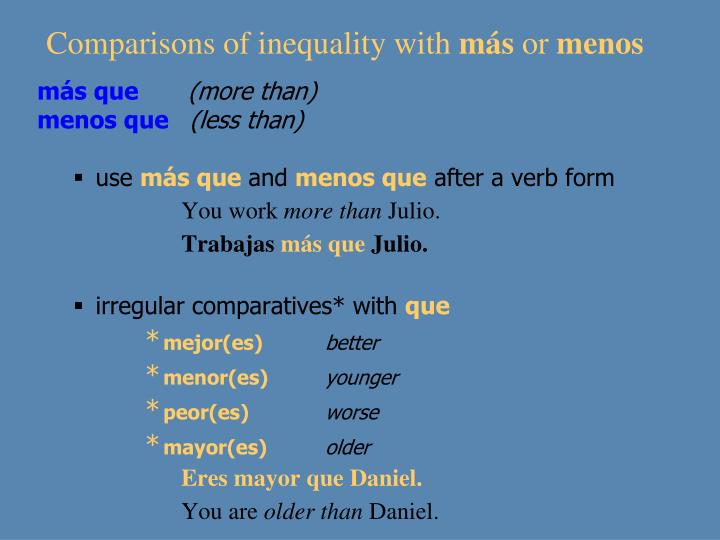 Comparisons of inequality with