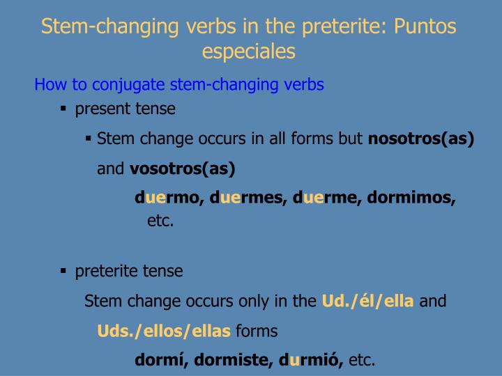 Stem-changing verbs in the preterite: Puntos especiales