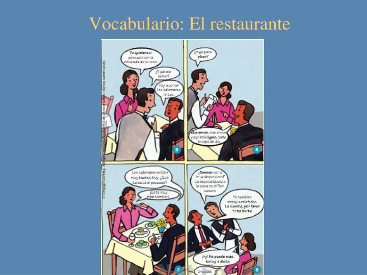 Vocabulario: El restaurante