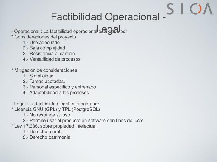 Factibilidad Operacional - Legal