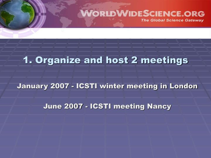 1. Organize and host 2 meetings