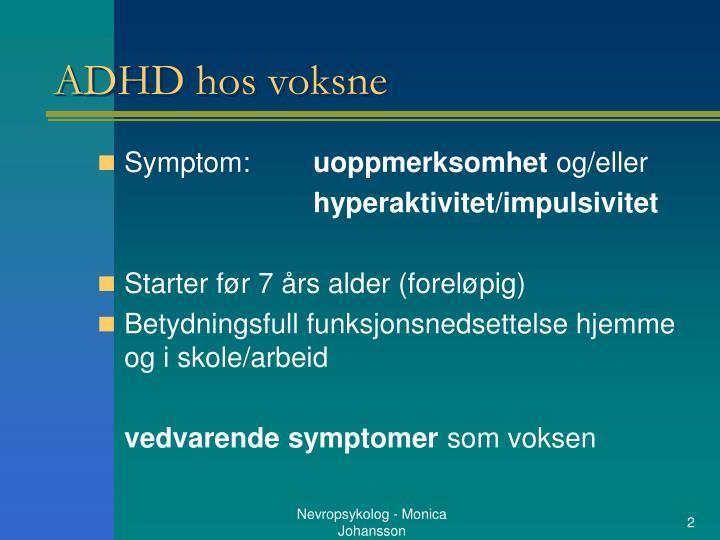 adhd voksne symptomer