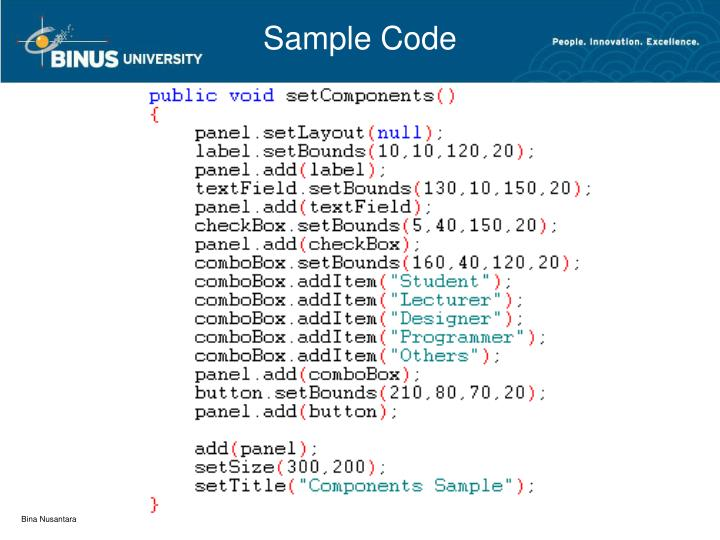 java coding sample