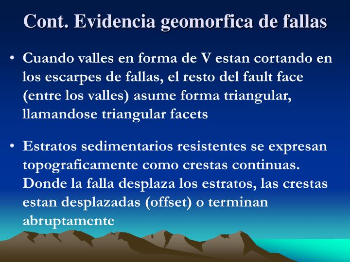 Cont. Evidencia geomorfica de fallas