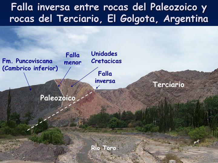 Falla inversa entre rocas del Paleozoico y rocas del Terciario, El Golgota, Argentina