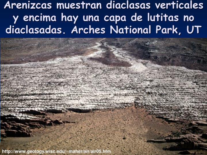 Arenizcas muestran diaclasas verticales y encima hay una capa de lutitas no diaclasadas. Arches National Park, UT
