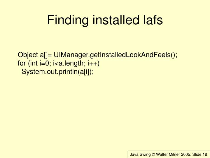 Finding installed lafs