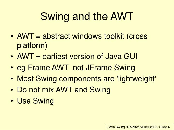 Swing and the AWT