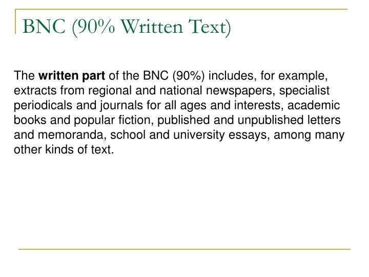 BNC (90% Written Text)