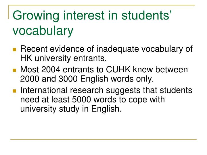 Growing interest in students' vocabulary