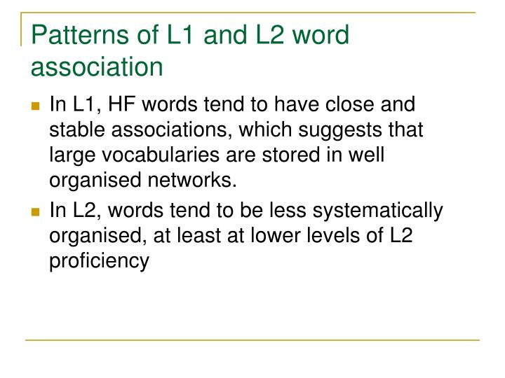 Patterns of L1 and L2 word association