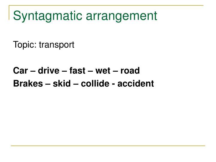 Syntagmatic arrangement