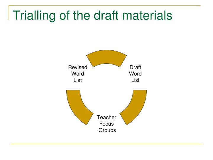 Trialling of the draft materials