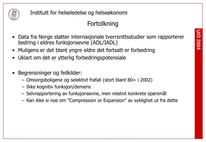 Data fra Norge støtter internasjonale tverrsnittsstudier som rapporterer bedring i eldres funksjonsevne (ADL/IADL)