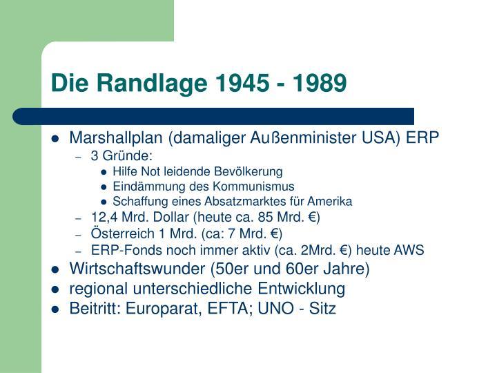 Die Randlage 1945 - 1989