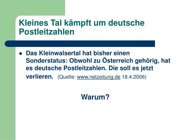 Kleines tal k mpft um deutsche postleitzahlen