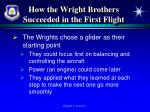 how the wright brothers succeeded in the first flight1