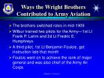ways the wright brothers contributed to army aviation1