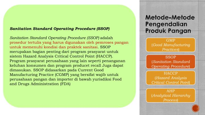 Sanitation Standard Operating Procedure (SSOP)