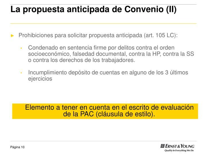 La propuesta anticipada de Convenio (II)