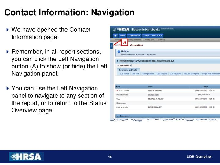 Contact Information: Navigation
