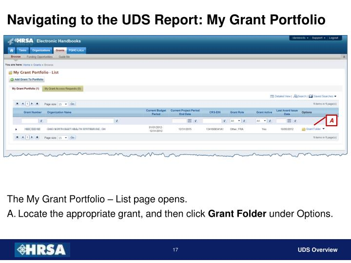 Navigating to the UDS Report: My Grant Portfolio