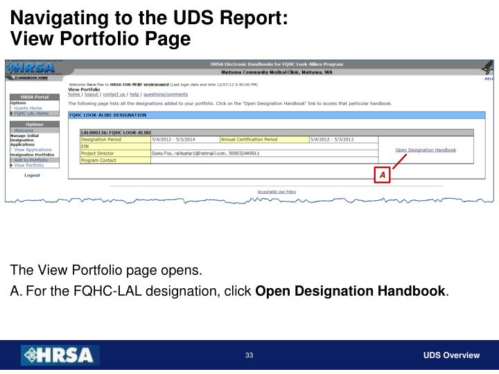 Navigating to the UDS Report: