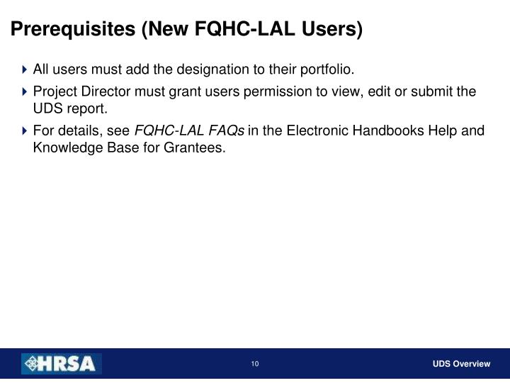 Prerequisites (New FQHC-LAL Users)