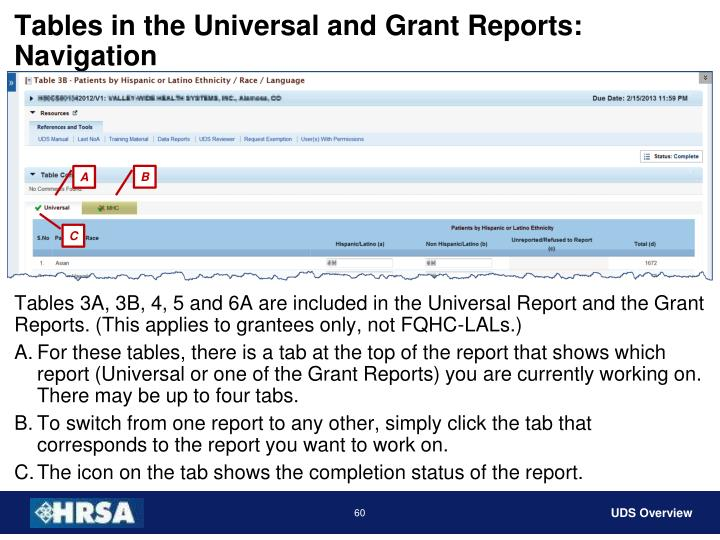 Tables in the Universal and Grant Reports: Navigation